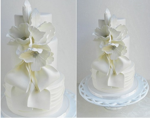 vintage feather wedding cake by The Cake Whisperer inspired by Lovin Sullivan
