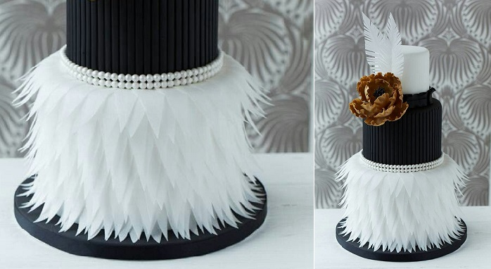 vintage feather wedding cake with flapper style details and vintage pearls Italian wedding cake via Pinterest