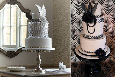 vintage feather wedding cakes for Gatsby-theme-wedding-from-The-Cake-Parlour-left and Cupcakes by Louise right