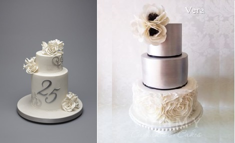 25th-silver-anniversary-cake by Bellissimo Cakes UK left and by Yummy Cupcakes and Cakes Australia right