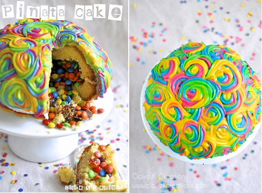Pinata cake and tutorial from Claire K Creations