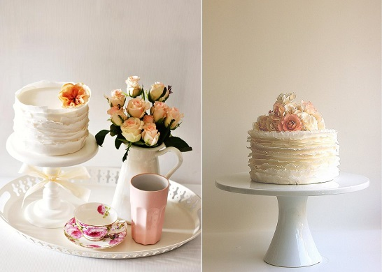 Ruffle cake by Minnies Sweet Creations left and fondant frill cake by Maggie Austin Cake right
