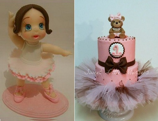 ballerina cake topper from Lovely Tutorials left and ballerina teddy cake with tulle tutu from Sweet Little Morsels