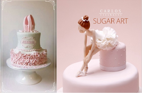 ballerina cakes by Dream Cakes by Robyn left and by Carlos Lischetti right