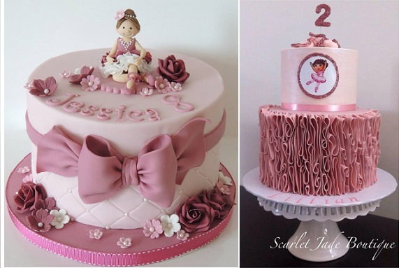 ballerina cakes by Shereen's Cakes and Bakes left and by Scarlet Jade Boutique Cakes right