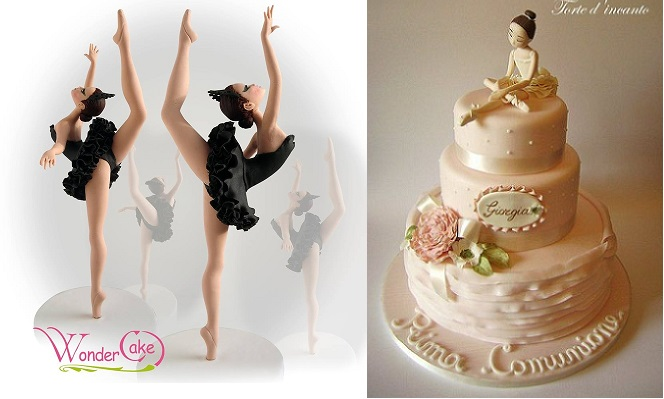 ballerina cakes by Wonder Cake left and by Torta d'incante right