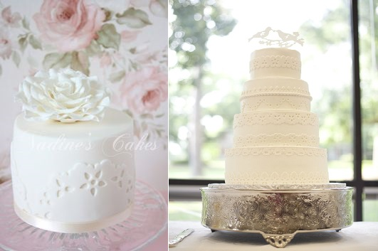 broderie anglaise cakes eyelet lace by Nadine's Cakes left and The Cake Barn  right