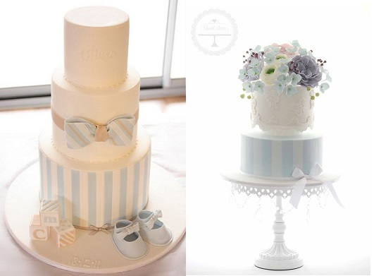 cakes with stripes blue and white by Cake Ink left and Sweet Love right