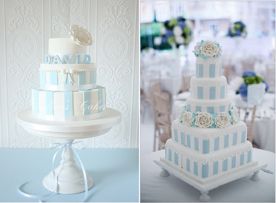 cakes with stripes blue and white by Canterbury Cakes left and by Curtis & Co right (Weddings by Nicola and Glen Photography)