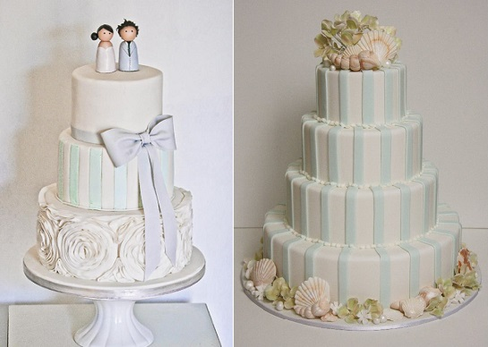cakes with stripes blue and white wedding cakes by Edible Art ZA left and The Cake That Ate Paris right