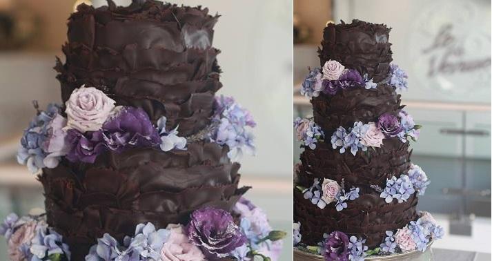 chocolate ruffles wedding cake dark chocolate wedding cake by Kanya Hunt