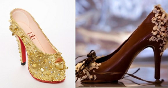 chocolate stilletto shoe by Lulu Cake Boutique left and chocolate high heel shoe by Three Sisters Chocolate right