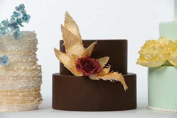 chocolate wedding cake with feathers from Style Sweet CA