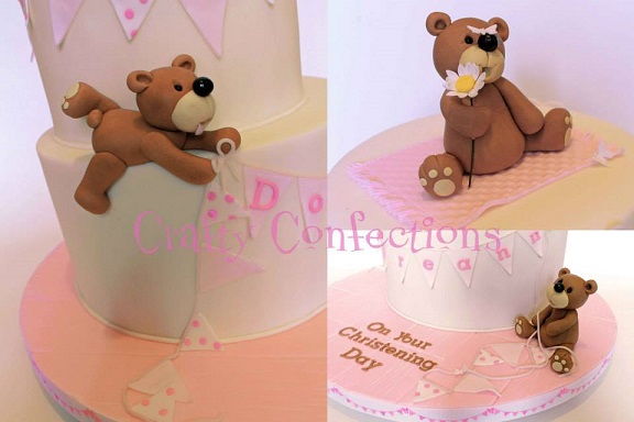 christening cake for a girl with teddy and bunting baby cake by Crafty Confections