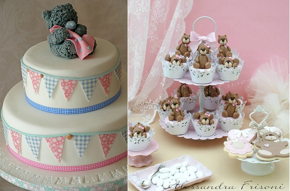 christening cake with teddy and blanket or baby cake left via Pinterest and christening cupcakes by Alessandra Frisoni right