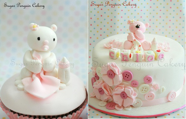 christening cakes for a girl or naming day cakes by Sugar Penguin Cakery