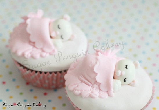 christening cupcakes with sleeping teddy or naming day cake by the Sugar Penguin Cakery
