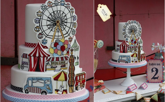 circus cake hand-painted carnival cake by Bite Me Bakery UK