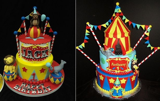 circus cakes and carnival cakes (images via Pinterest)