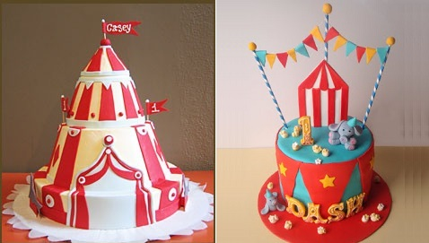 circus cakes by Bakery Bar left and by Butterhearts Sugar right