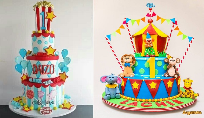 circus cakes by Cakelava left and by Sugarnana right