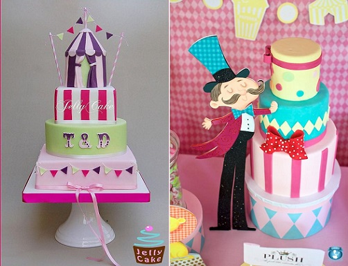 circus cakes by Jelly Cake UK left and via Hostess With The Mostest right