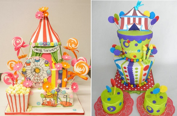 circus cakes by Lulu Cake Boutique left and Viva La Cake right
