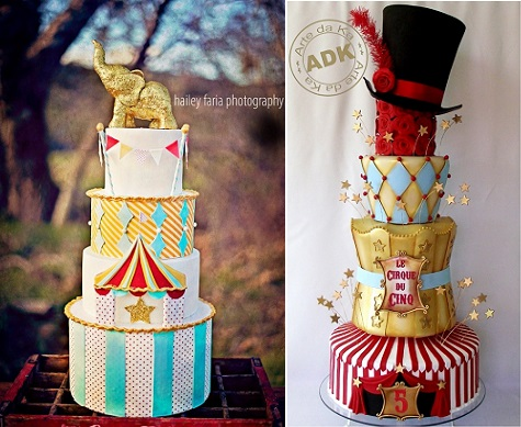 circus cakes from Hey there Cupcake left, Hailey Faria Photography and by Arte de Ka right