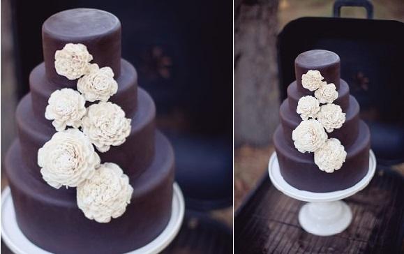 dark chocolate wedding cake idea from Sweet & Saucy Shop