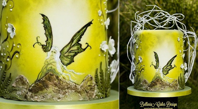 hand painted cake by Bellaria Cakes Design