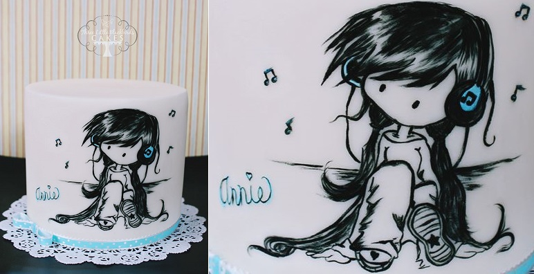 hand painted cake by The Three Little Blackbirds Cakes