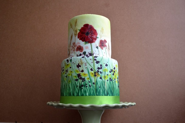 hand painted cake poppy meadow by Lorna's Cakery
