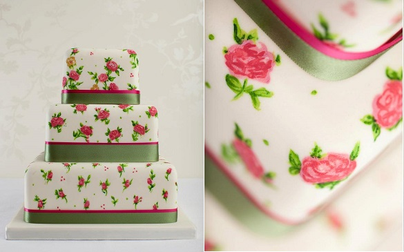 hand painted cake vintage rose design by Curtis and Co. Cakes, image by Nigel Byde Photography
