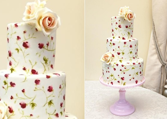 hand painted cake vintage rose design by Nadya's Cakes and Bakes