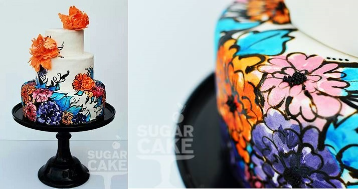 hand painted cakes by Sugar Cake left and by the Juniper Cakery right