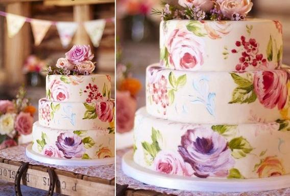 hand painted wedding cake via Mari Kitsak on Pinterest