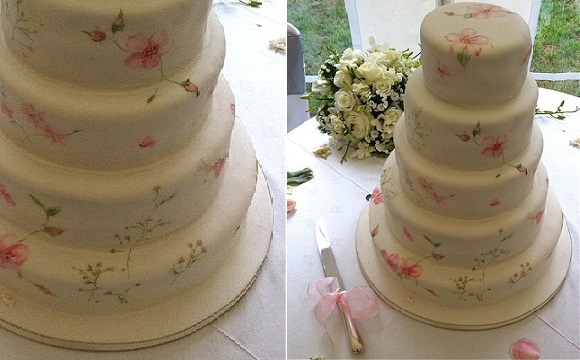 hand painted wedding cake vintage rose by Penelope's Handpainted Cakes