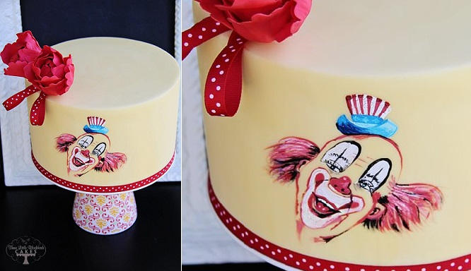 handpainted circus clown cake by The Three Little Blackbirds Bakery