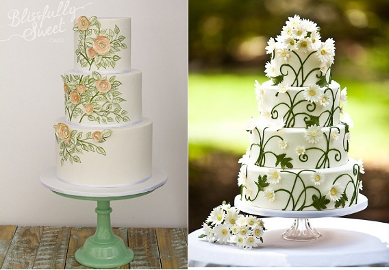 multi dimensional cake decorating by Blissfully Sweet Cakes left and via Juxtapost right