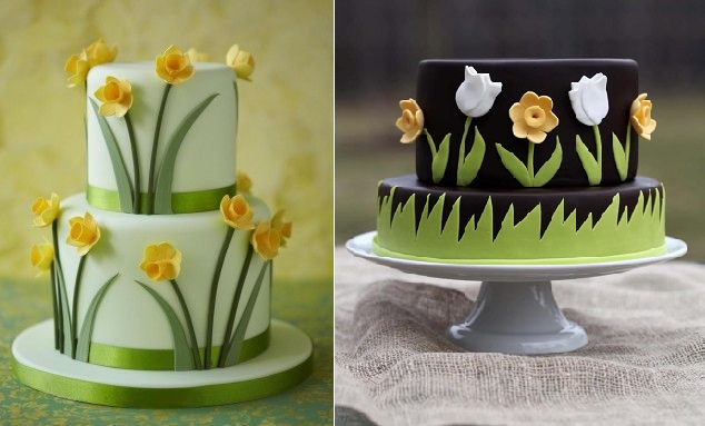 multi dimensional cake decorating daffodil cakes Spring cakes by the Cake Parlour left and Karla's Little Bakery right