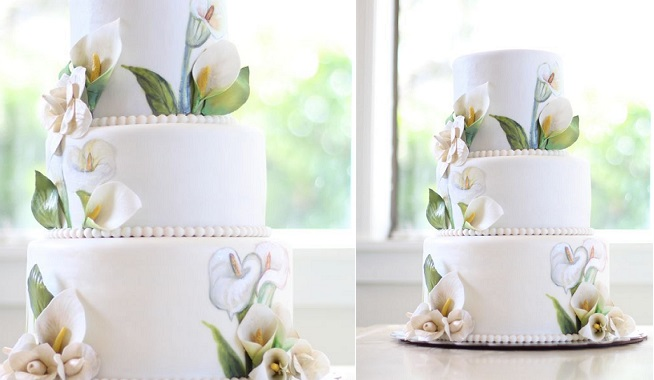 multi dimensional cake decorating hand painted lilies by KOs Cakes
