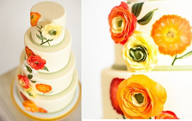 multi dimensional cake decorating orange and yellow ranunculas by Anna Craig Sweet On You Cakes via Cake Central Magazine