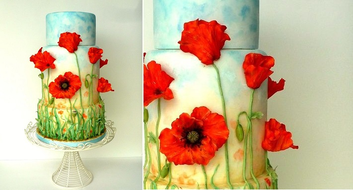 multi dimensional cake decorating poppies by Panel7124 on Cake Central