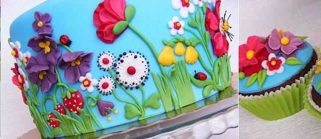 multi dimensional cake decorating summer garden cake by Bubolinkata