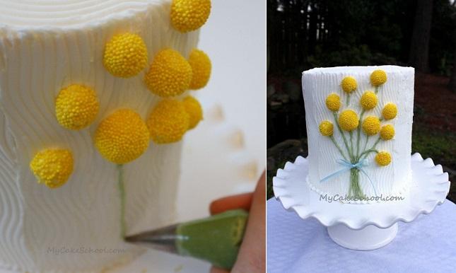 multi dimensional cake decorating tutorial yellow flowers by MyCakeSchool .com