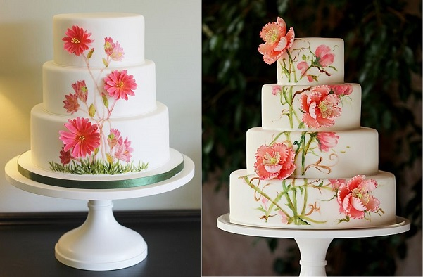 multi dimensional cake decorating with Bitterroot wedding cake by CakeBoxSpecial Occasion Cakes left and via Pinterest right