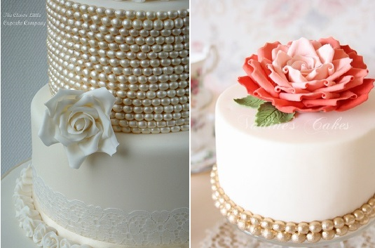 pearl beaded cakes by The Clever Little Cupcake Company left and Nadine's Cakes right
