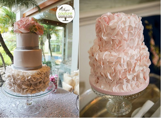petal ruffle wedding cakes by Sugar Couture Cupcakes and Cakes left and by Sugar Bloom Cakes right