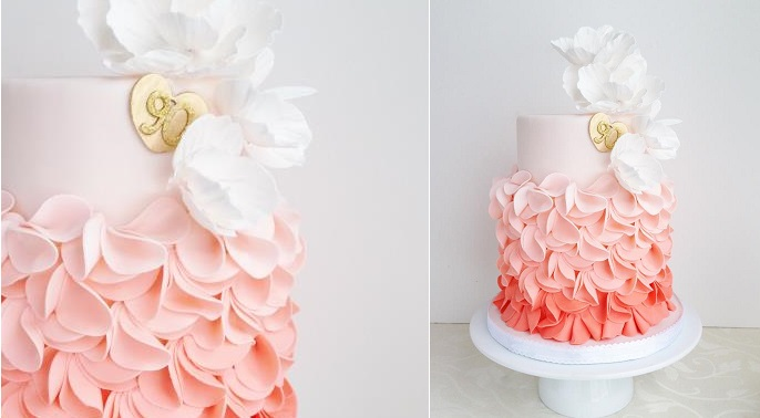 petal ruffles cake peach ombre birthday cake by The Cake Whisperer