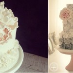 petal ruffle wedding cakes from Sweet Bloom Cakes left and Cotton and Crumbs right